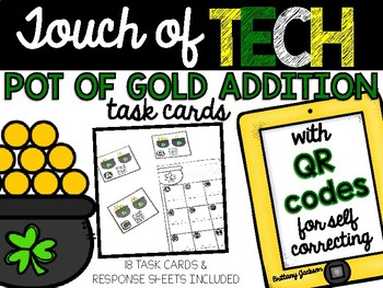 St. Patrick's Day Pot of Gold Addition Task Cards with QR Codes