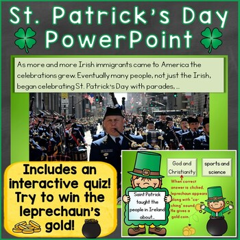 St. Patrick's Day PowerPoint with Interactive Quiz & Print