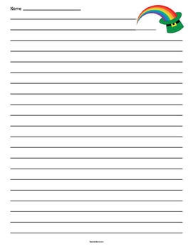 St. Patrick's Day Rainbow Lined Paper