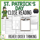St. Patrick's Day Reading Comprehension - Texts Higher Ord