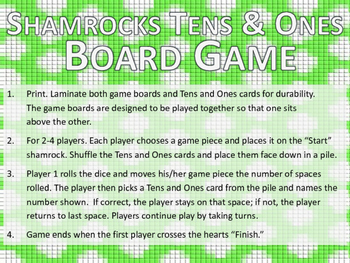 St. Patrick's Day / Shamrock Tens and Ones Addition Board Game