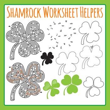 St Patrick's Day Shamrock Worksheet Helper Clip Art Set Co