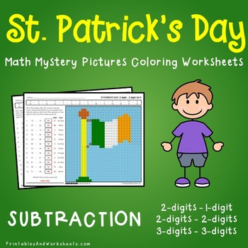 St. Patrick's Day Subtraction Coloring Worksheets