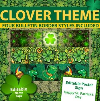 St Patricks Day Theme - Bulletin Borders, Editable Name Ta