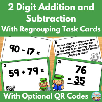 St. Patrick's Day Two Digit Addition and Subtraction Task
