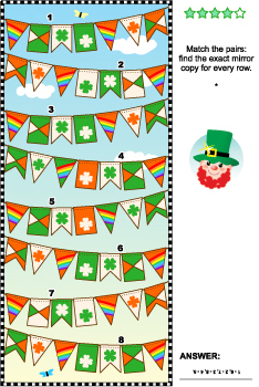 St. Patrick's Day Visual Puzzle with Bunting Flags, Commer