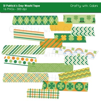 St Patrick's Day Washi Tape Digital Clipart - 16 High Res