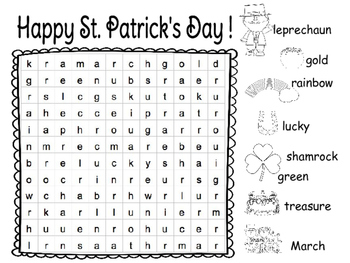 St. Patrick's Day Word Search with Pictures