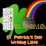 St. Patrick's Day Word Writing List in Spanish