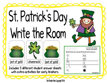 St. Patrick's Day Write the Room- Includes 3 levels of ans