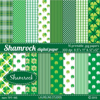 St. Patrick's Day digital paper with shamrock patterns 8.5
