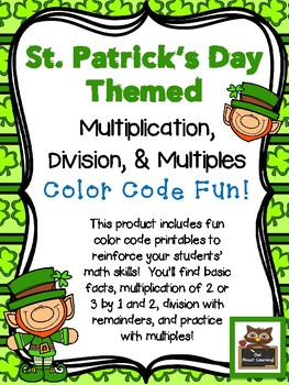 St. Patrick's Themed Multiplication, Division, and Multipl