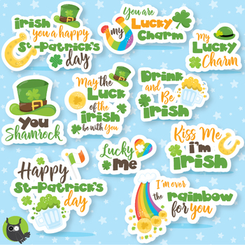 St-Patrick's word art clipart commercial use, vector graph