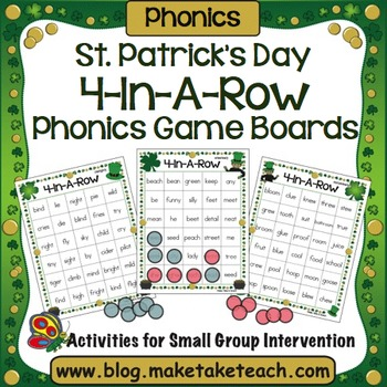 St. Patrick's Day 4-In-A-Row Phonics Game Boards
