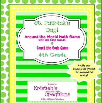 St. Patrick's Day 4th Grade 30 Math Center Task Cards Crac