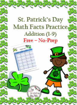 St Patrick's Day Addition Practice 1 Digit Freebie