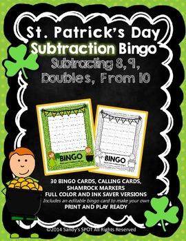 St Patrick's Day BINGO Subtraction