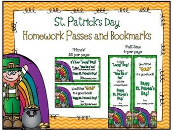 St. Patrick's Day Bookmarks & Homework Passes (Freebie!)