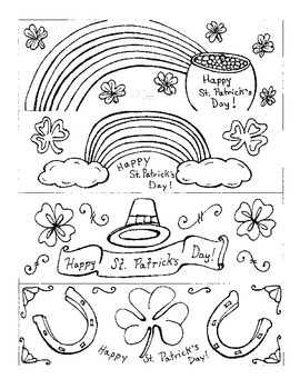 St. Patrick's Day:  Bookmarks to Color