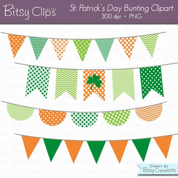 St. Patrick's Day Bunting Clipart Digital Art Set Green Or