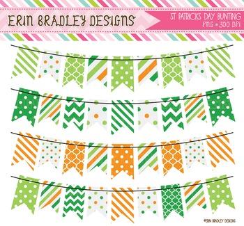 St. Patricks Day Bunting Clipart Graphics Green & Orange
