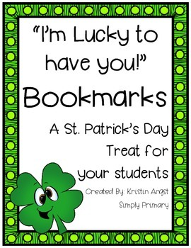 St. Patrick's Day Class Bookmarks