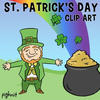 St. Patrick's Day Clip Art, Leprechaun, Pot of Gold, Rainb