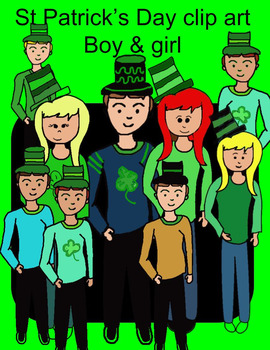 St. Patricks Day Clip Art boy and girl multiple styles tra