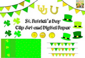 St. Patrick's Day Clipart: 19 graphics and 4 digital paper