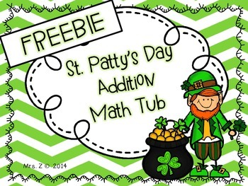 St. Patrick's Day Common Core Addition Math Tub-FREEBIE