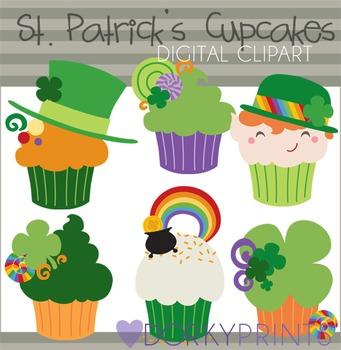 St Patrick's Day Cupcake Digital Clip Art