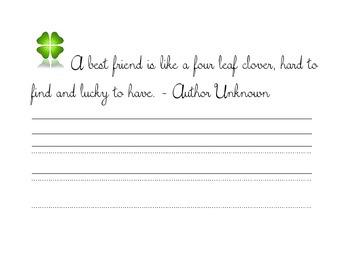 St. Patrick's Day Cursive Copywork