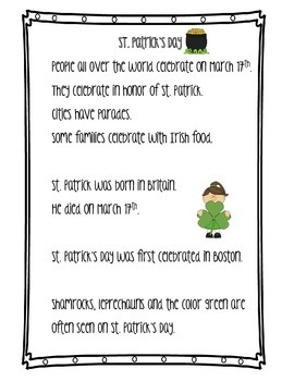 St. Patrick's Day Differentiated  Nonfiction and Reading C