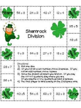 St. Patrick's Day Division Game: 22 board games (color and