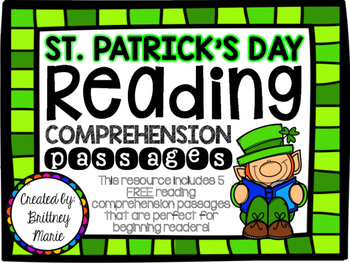 St. Patrick's Day FREEBIE {Reading Comprehension Passages}