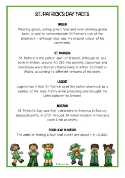 St. Patrick's Day Fact Cards