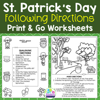 St. Patrick's Day Following Directions Worksheets - NO PREP