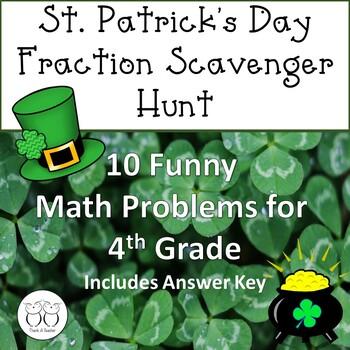 St. Patrick's Day Fraction  Math Scavenger Hunt No Prep Co