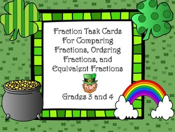 St. Patrick's Day Fraction Task Cards for Comparing/Equiva