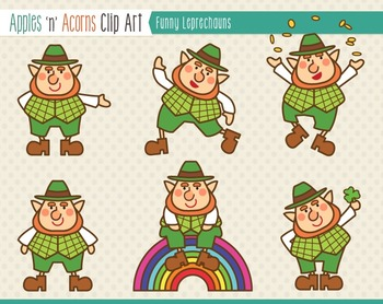 St. Patrick's Day Funny Leprechauns Clip Art - color and outlines