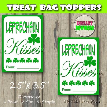 St Patricks Day Gift Favor Tags Set of 8 Instant Download