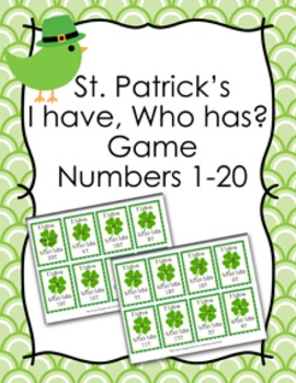 St. Patrick's Day I Have Who Has? Number Recognition Game 1-20