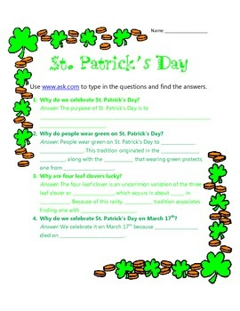 St. Patrick's Day Internet Search