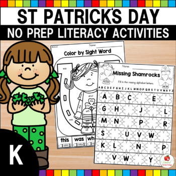 St. Patrick's Day Kindergarten Literacy Worksheets (Common