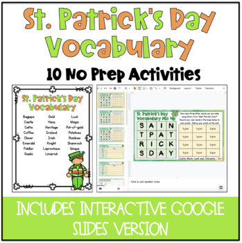 No Prep St. Patrick's Day Language Art Activities Bundle!