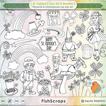 St Patrick's Day Line Art - PNG Digital Stamps + PS Brushe