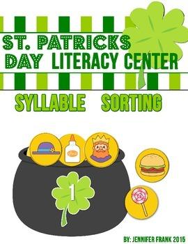 St. Patricks Day Literacy Center: Pot O' Gold Syllable Sorting