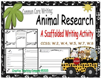 Common Core Writing; Animal Research Templates