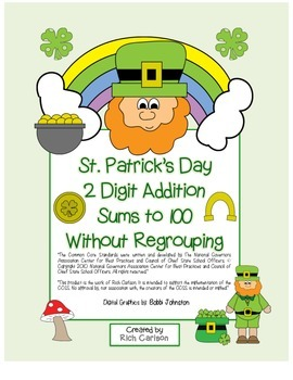 """St. Patrick's Day Math"" 2 Digit Addition No Regrouping  ("