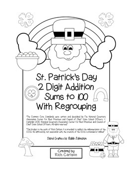 """St. Patrick's Day Math"" 2 Digit Addition Regrouping - Com"